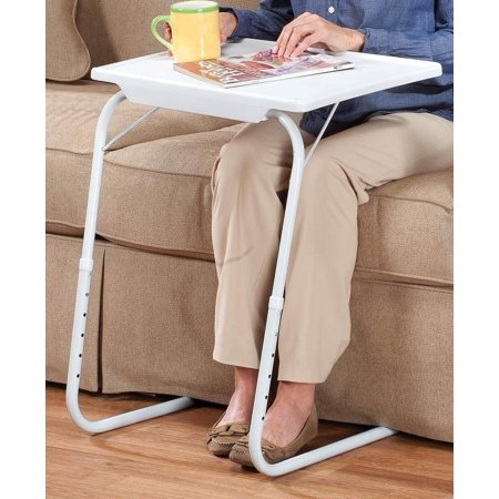 TV Tray Portable Folding Snack Table Adjustable Sofa Side Table for Breakfast, Bed Table, Foldable Desk for Home (Best Tray Table With Foldable Legs)