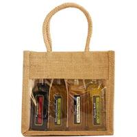 "7"" OJ4 Sampler Natural Brown Jute 4 Sample Bottle Olive Oil Bags"
