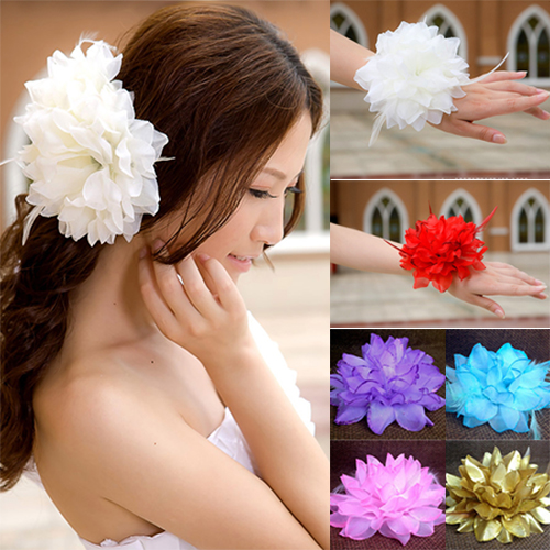 HiCoup Bridal Wedding Party Flower Headband Elastic Pin Hair Wrist Band Corsage Decor