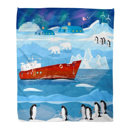 LADDKE Flannel Throw Blanket Travel to Antarctic and Arctic Ice Breaker Penguins Polar Soft for Bed Sofa and Couch 58x80 Inches (Arctic Polar Ice)