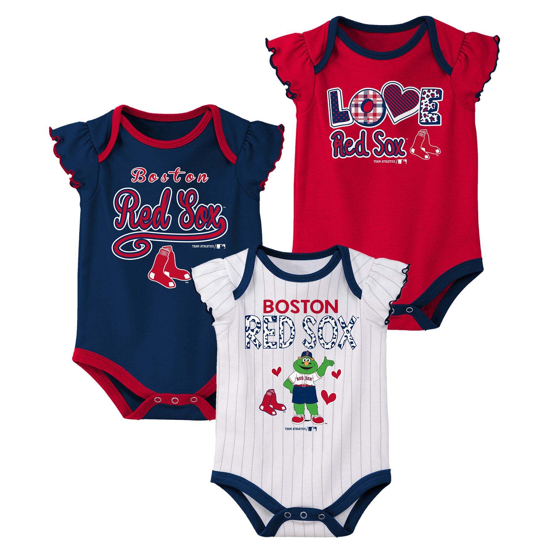 MLB Boston RED SOX Onesie Creeper GIRL 3PK 100% Cotton ASSORTED Colors 0M-18M