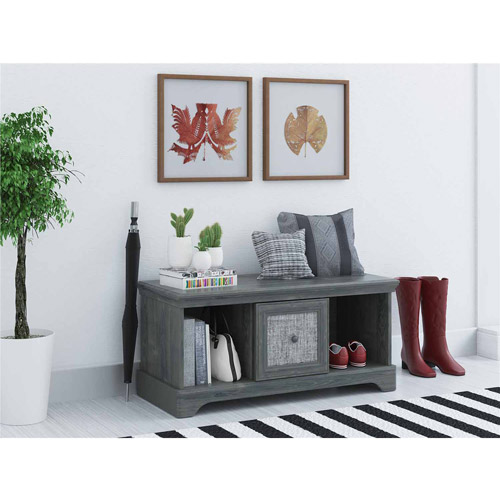 Ameriwood Home Stone River Storage Bench with Fabric Insert, Rustic Oak by Ameriwood