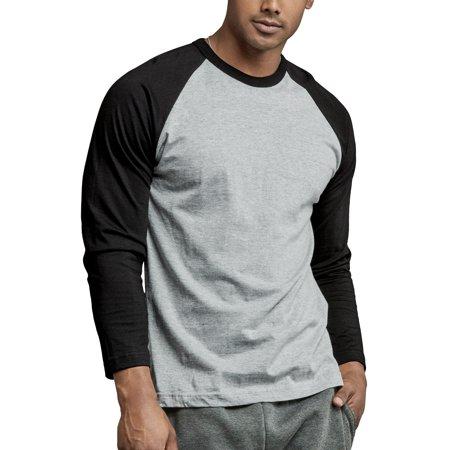 Men's Long Sleeve Baseball T-Shirt Jersey Raglan Two-Tone Active Tee Fire Long Sleeve Jersey