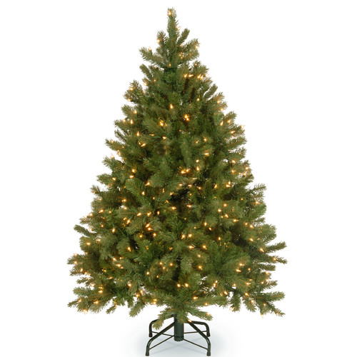 The Holiday Aisle Downswept Douglas 4.5' Green Fir Artificial Christmas Tree with 300 Warm White LED Lights Includes Stand