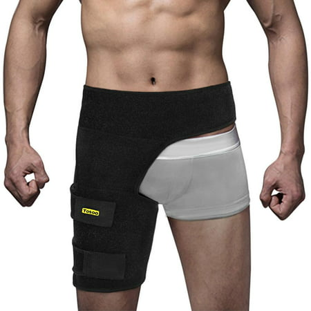 Lv. life Thigh Support Pain Relief Strain Neoprene Hip,Black Adjustable Groin Brace Wrap Thigh Support Pain Relief Strain Neoprene