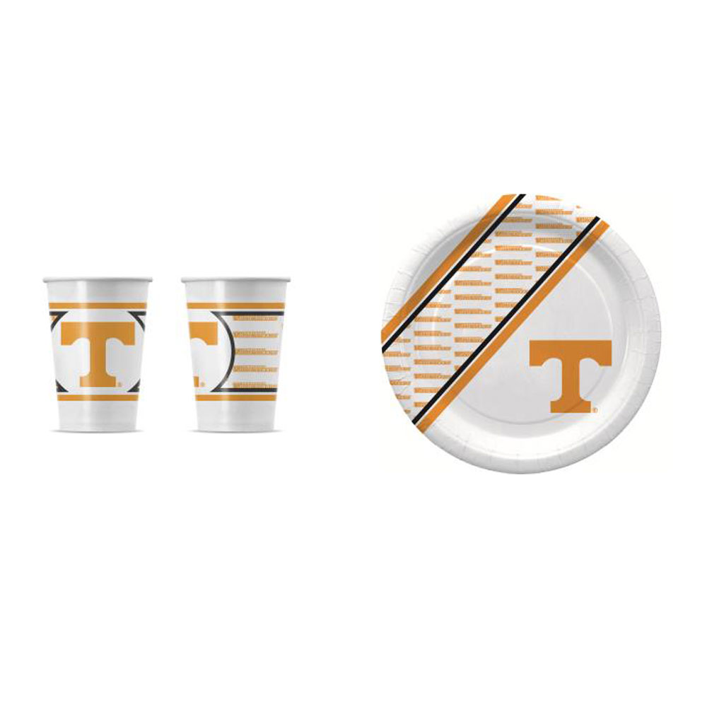 GameDay Essential Tennessee Volunteers 20 Pc Disposable Paper Plates And 20 Pc Disposable Paper Cups