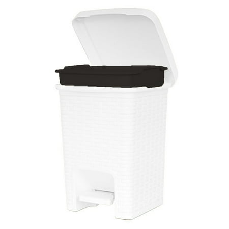 Superio Square Pedal Trash Can, Rattan Style, 7.5 Qt (White)