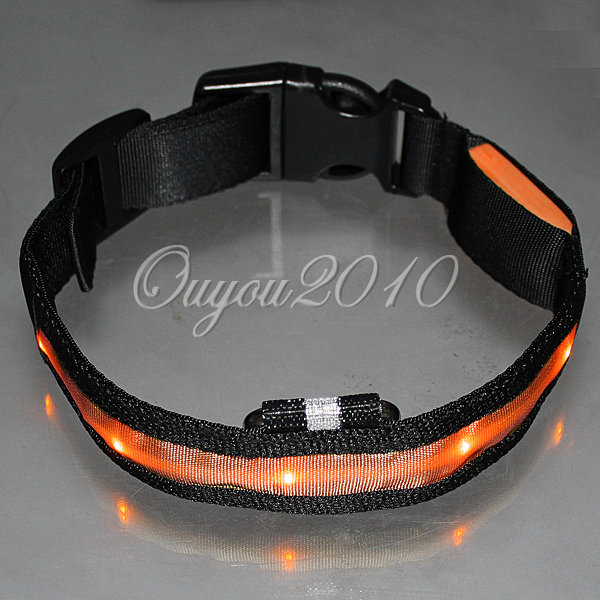 Flashing Glow Light Nylon Safety  LED Pet Collars Dog Collar Size XL