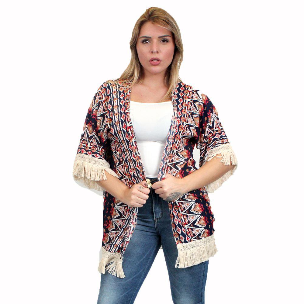 2e50c53e7a3 Zodaca Tribal Print Kimono with Fringe Womens Beach Cover Up Coat Blouse  Jacket Top - Orange