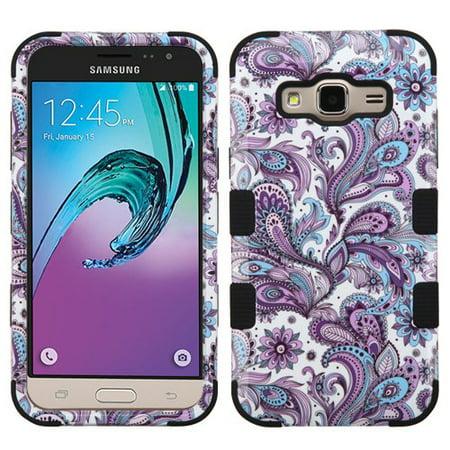 - Samsung Galaxy J3V, J3, Sky, Sol, Express Prime, Amp Prime Case - Wydan TUFF Hybrid Hard Shockproof Case Protective Heavy Duty Impact Skin Cover Paisley