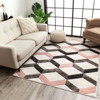 """Well Woven Good Vibes Millie Blush Pink Transitional Geometric Zigzag 5'3"""" x 7'3"""" High-Low Area Rug"""
