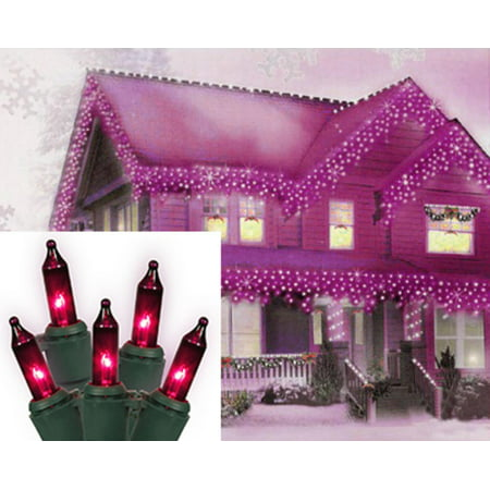 Set of 100 Purple Mini Icicle Christmas Lights - Green Wire ()
