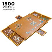 """Jumbl Puzzle Board   27"""" x 35"""" Wooden Jigsaw Puzzle Table w/Smooth Plateau Work Surface, 6 Storage & Sorting Drawers & Reinforced Hardwood Construction for Standard Games & Puzzles Up to 1,500 Pieces"""
