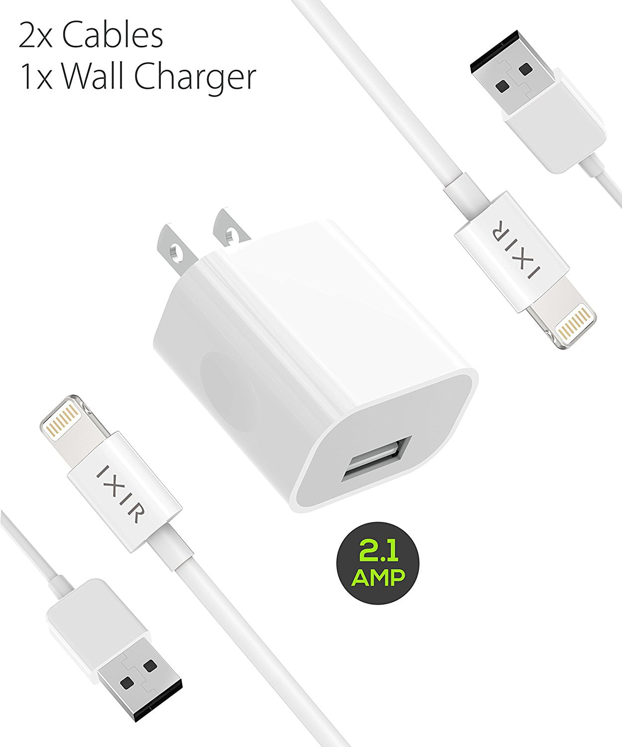 Infinite Power, USB Cable Compatible with Apple iPhone Xs//Xs Max//XR//X//8//8Plus//7//7Plus//6S//6SPlus//Air//Mini//iPod Touch//Case Original Size iPhone Lightning Cable Set 3FTx2,6FTx2, 10FT