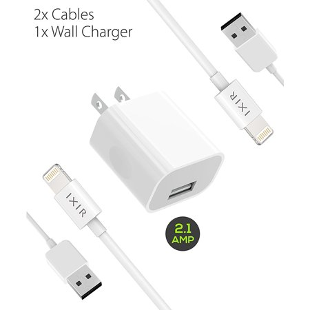 Ixir iPad Mini 2 Charger Apple Lightning Cable Kit by Ixir - {1 Wall Charger 2 Cable}, Apple Certified USB Cables (White) ()