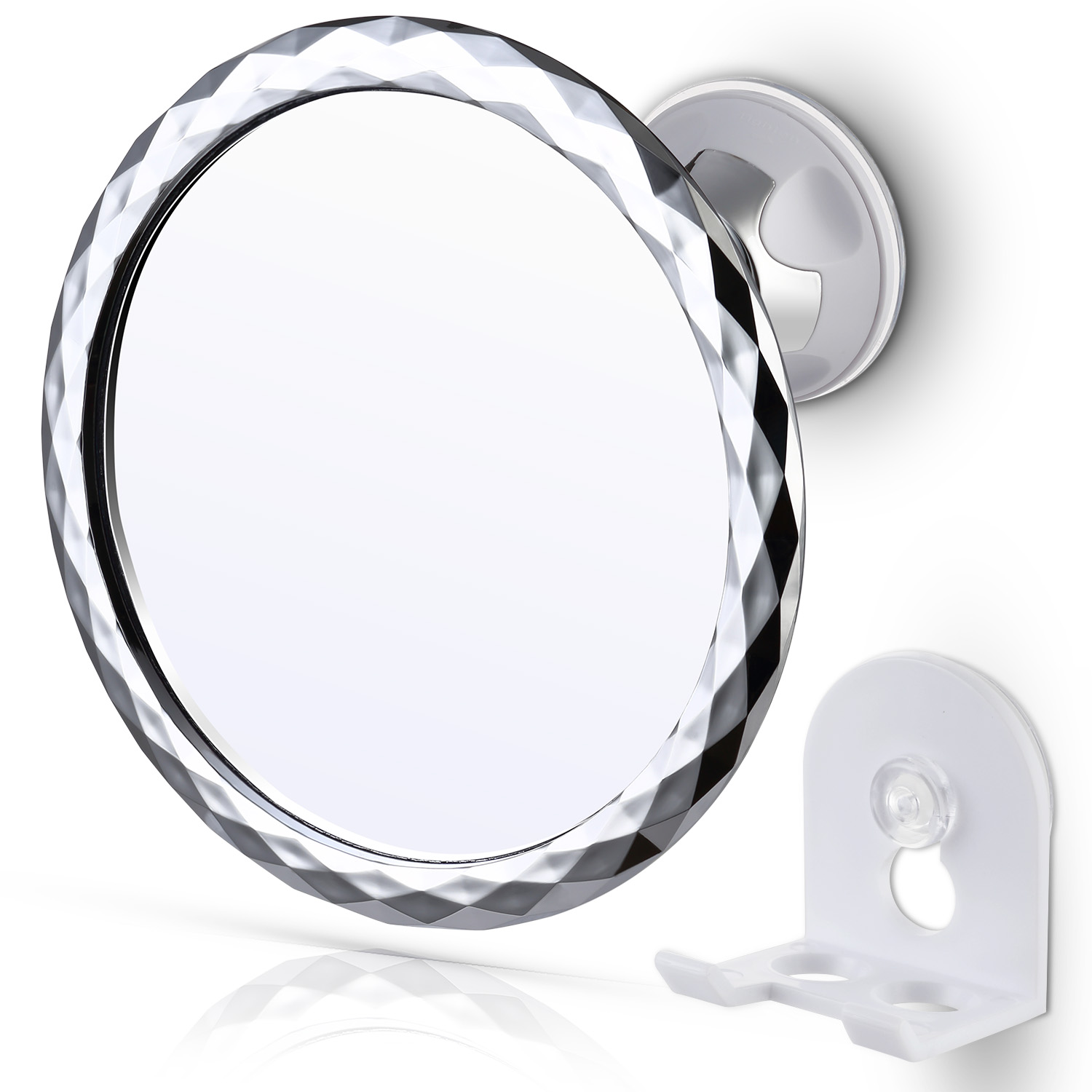 Miusco Fogless Shower Shaving Mirror With Suction Cup Razor Holder, Flexible Rotation Arm and Powerful Locking Suction Cup Mount, Chrome, 5.75 Inch, Round
