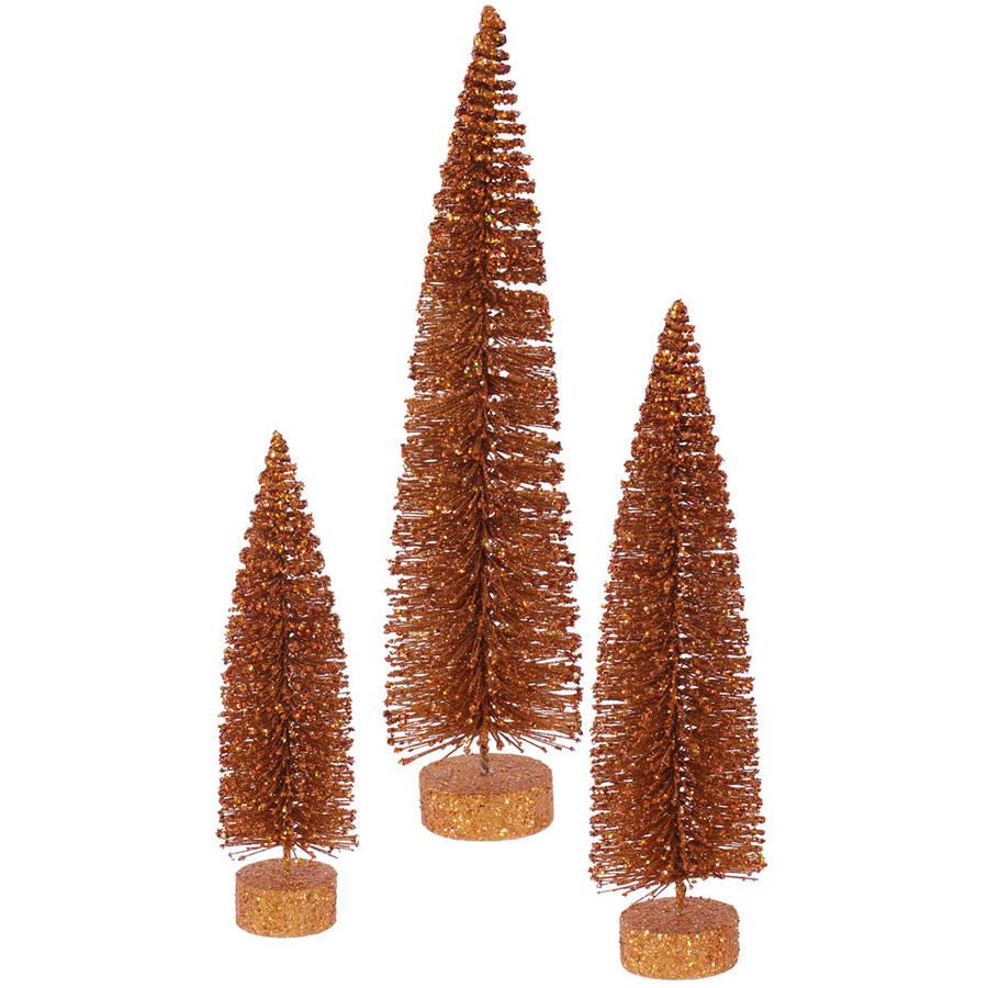 "Vickerman 12""/16""/20"" Copper Glitter Oval Artificial Christmas Tree, Unlit"