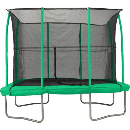 JumpKing 7 x 10-Foot Rectangular Trampoline, with Enclosure, Green ()