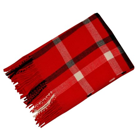 Gingham Wrap - Cashmere Feel Women Red Gingham Pattern Fringed Edge Trendy Fashion Scarf
