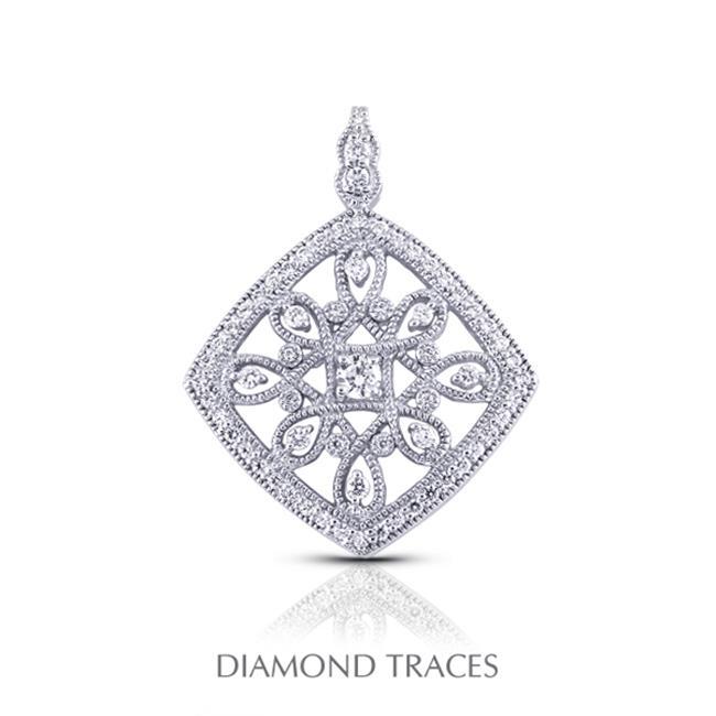 Diamond Traces 1.75 Carat Total Natural Diamonds 18K White Gold Prong & Pave Setting Rhombus Shape With Milgrain Fashion Pendant - image 1 de 1