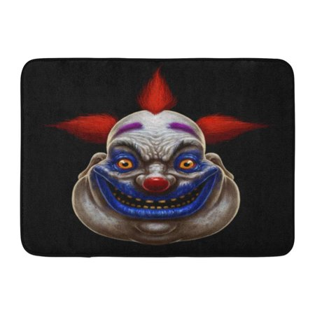 LADDKE Red Horror Evil Scary Smiling Fat Clown Halloween Circus Character on Mask Creepy Doormat Floor Rug Bath Mat 23.6x15.7 inch - Floor 10 On 100 Floors Halloween
