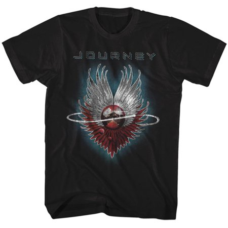 Journey Album Guitar Cover Art Rock Band Adult Black T-Shirt (Band Adult Black T-shirt)