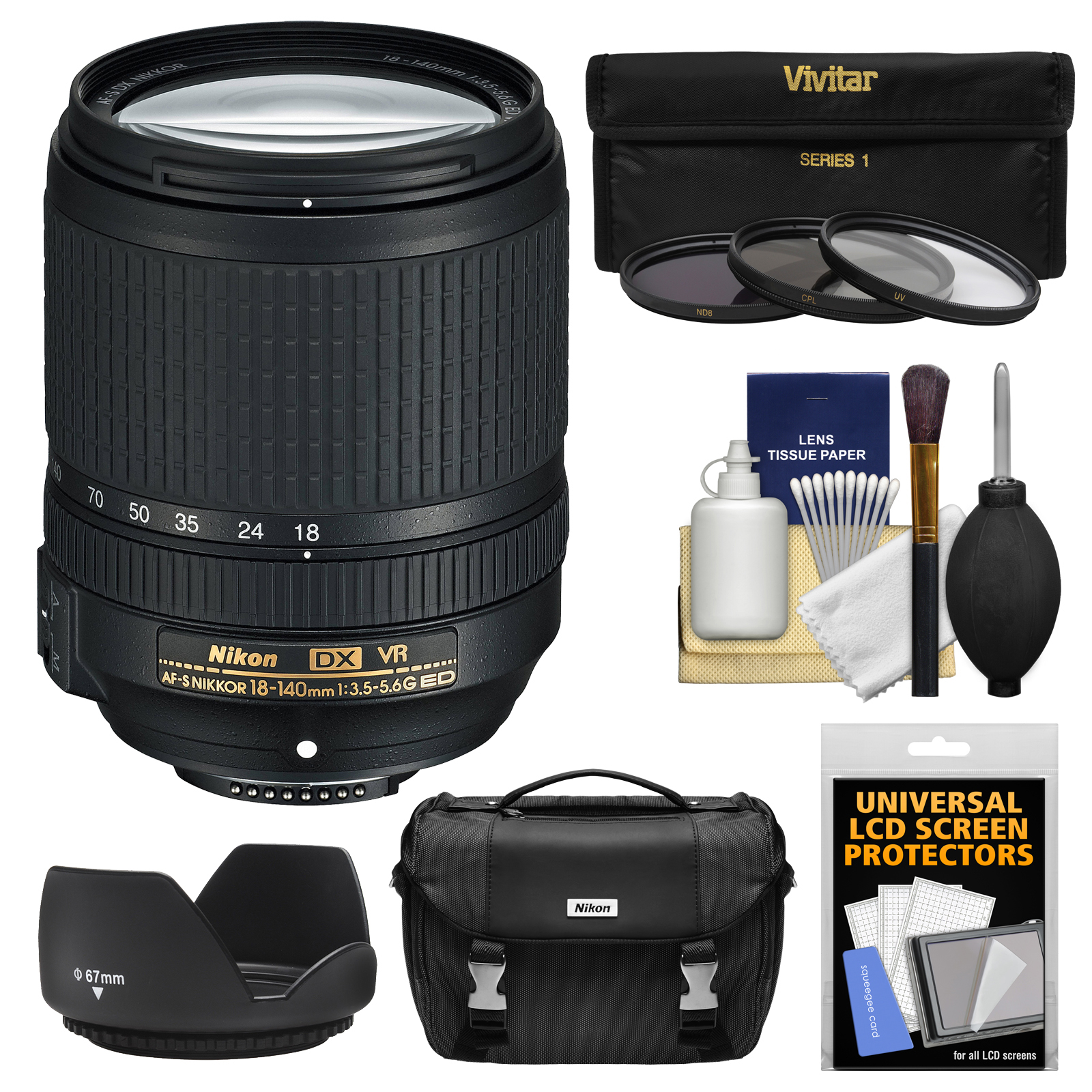 Nikon 18-140mm f/3.5-5.6G VR DX ED AF-S Lens with Case + 3 UV/CPL/ND8 Filters + Hood Bundle for D3200, D3300, D5300, D5500, D7100, D7200 Cameras