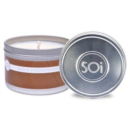 The SOI Co. Amber Sandalwood Tin Candle 8oz Home Decor Aromatherapy Spa Relaxation Relax Day Spa