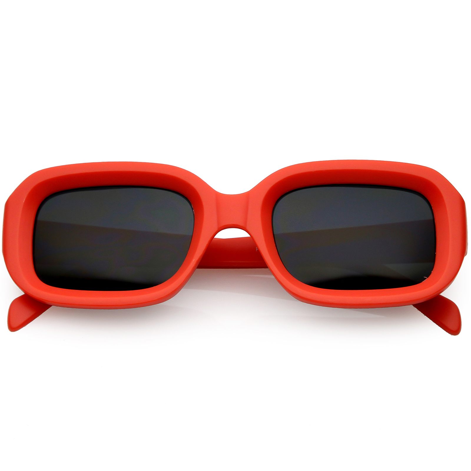 sunglassLA - Chunky Matte Finish Rectangle Sunglasses Neutral Colored Lens 50mm - 50mm