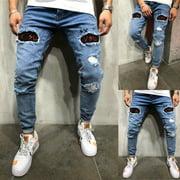 SUNSIOM Mens Boys Skinny Jeans Ripped Slim fit Stretch Denim Distress Frayed Biker Jeans