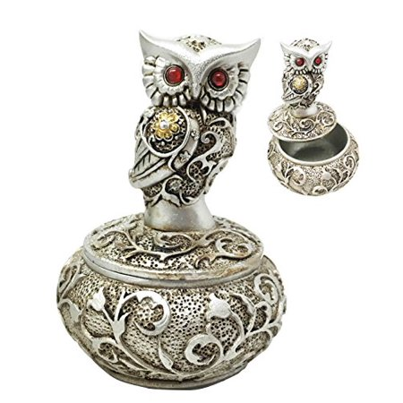 Silver And Bronze Colored Steampunk Ancient Owl With Red Gem Eyes Jewelry Box -