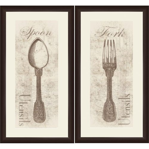 "Framed Graphic ""Fork and Spoon"" Wall Art, Espresso Frame, Set of 2"