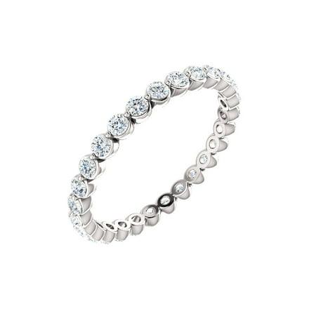 14k White Gold 7/8 Ct Diamond Anniversary Wedding Eternity Band - Size 8