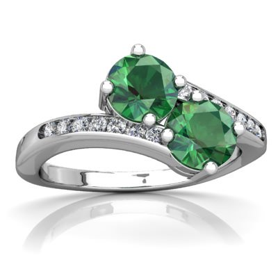 Lab Emerald Keepsake Celtic Knot Ring In 14K White Gold