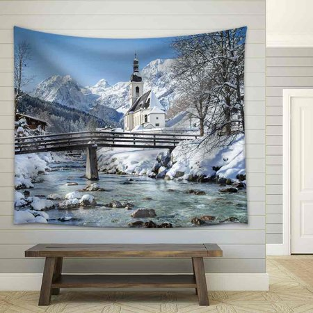 wall26 - Panoramic View of Scenic Winter Landscape in The Bavarian Alps - Fabric Wall Tapestry Home Decor - 51x60 inches