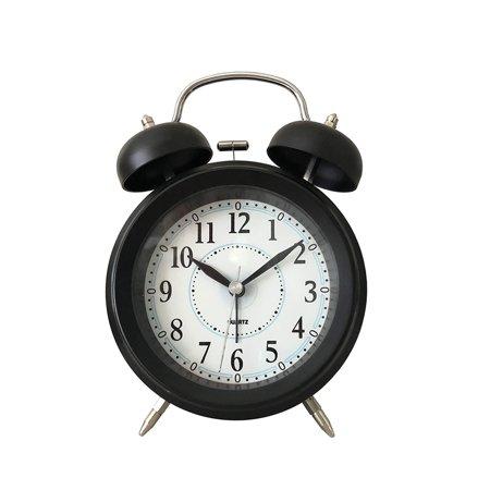 Twin Bell Alarm Clock w/LED light- Black