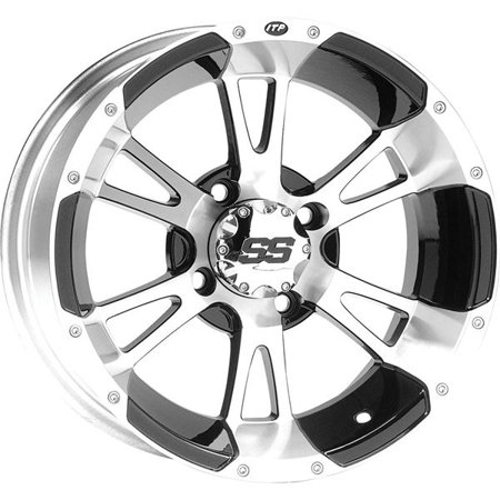 Machined w/Black Sz 12x7, 4/4, 2+5 ITP SS112 Alloy Aluminum Wheel - 1228246404B
