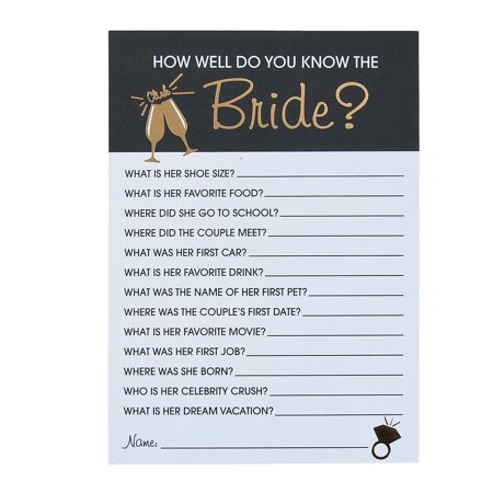 Bridal Shower Trivia Game (12 cards) for Wedding - Toys - Games - Card