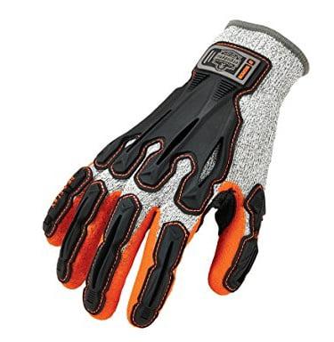 ERGODYNE 922CR Impact Gloves, Level 5, Gray/Orange, PR