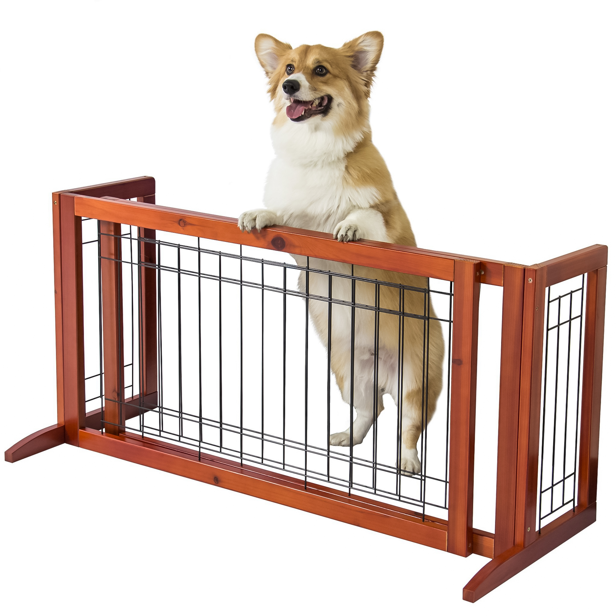 Best Choice Products Adjustable Freestanding Pet Dog Fence Gate for ...