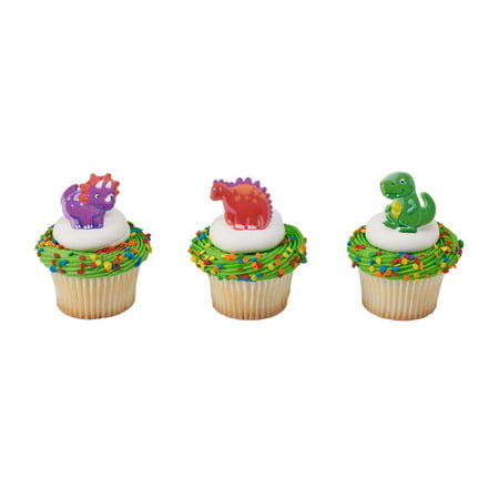 24pack Dino Pals Cupcake / Desert / Food Decoration Topper Rings with Favor Stickers & Sparkle - Whole Foods Halloween Cupcakes