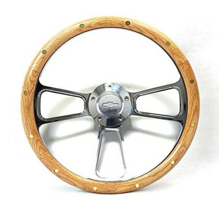 Chevy Bel Air Billet - Steering Wheel Oak & Billet Chevy Bowtie Full Kit 1955-56 Bel Air, Nomad