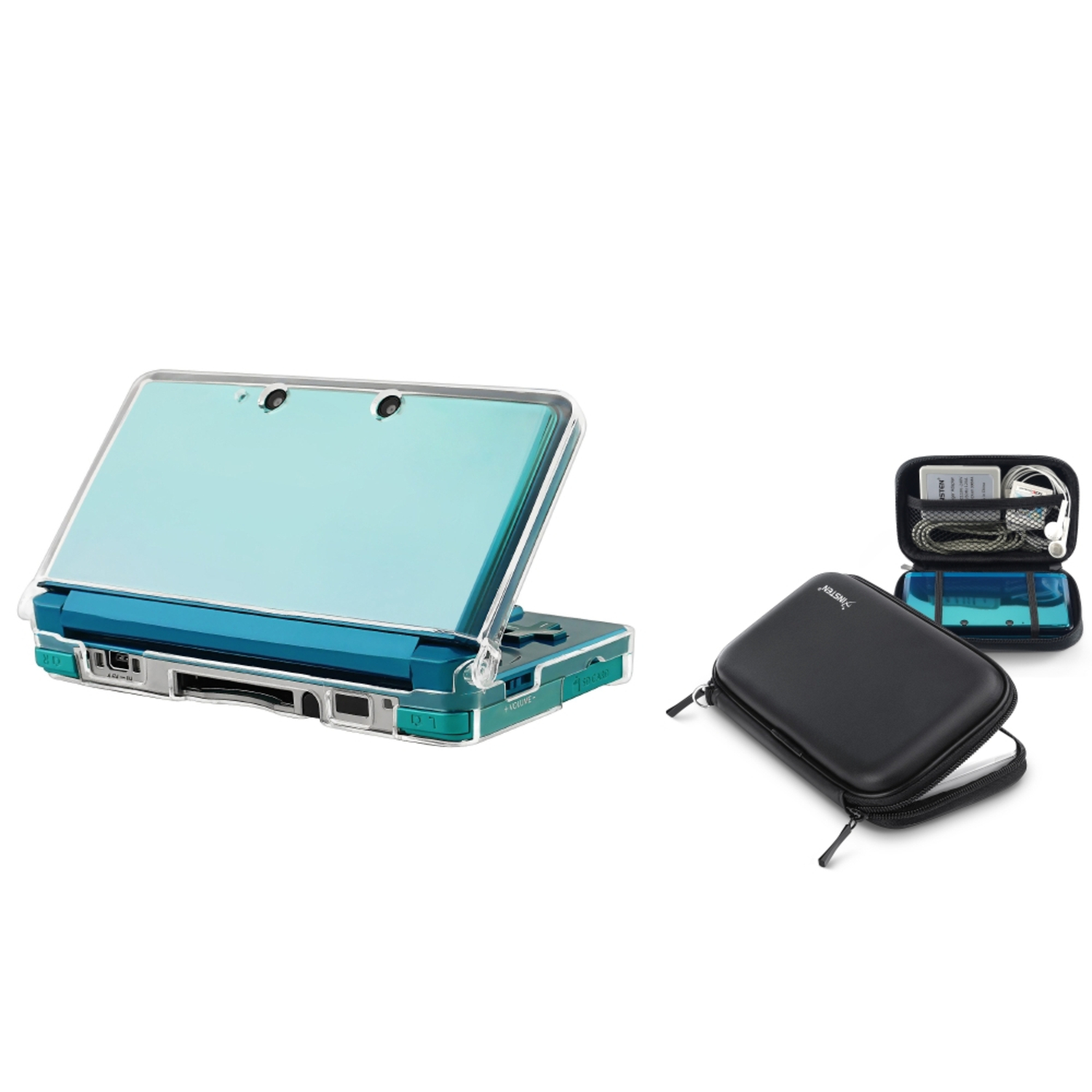 Insten Clear Crystal Shell Case + Black EVA Protective Case Bag Pouch For Nintendo 3DS N3DS (2-in-1 Accessory Bundle)