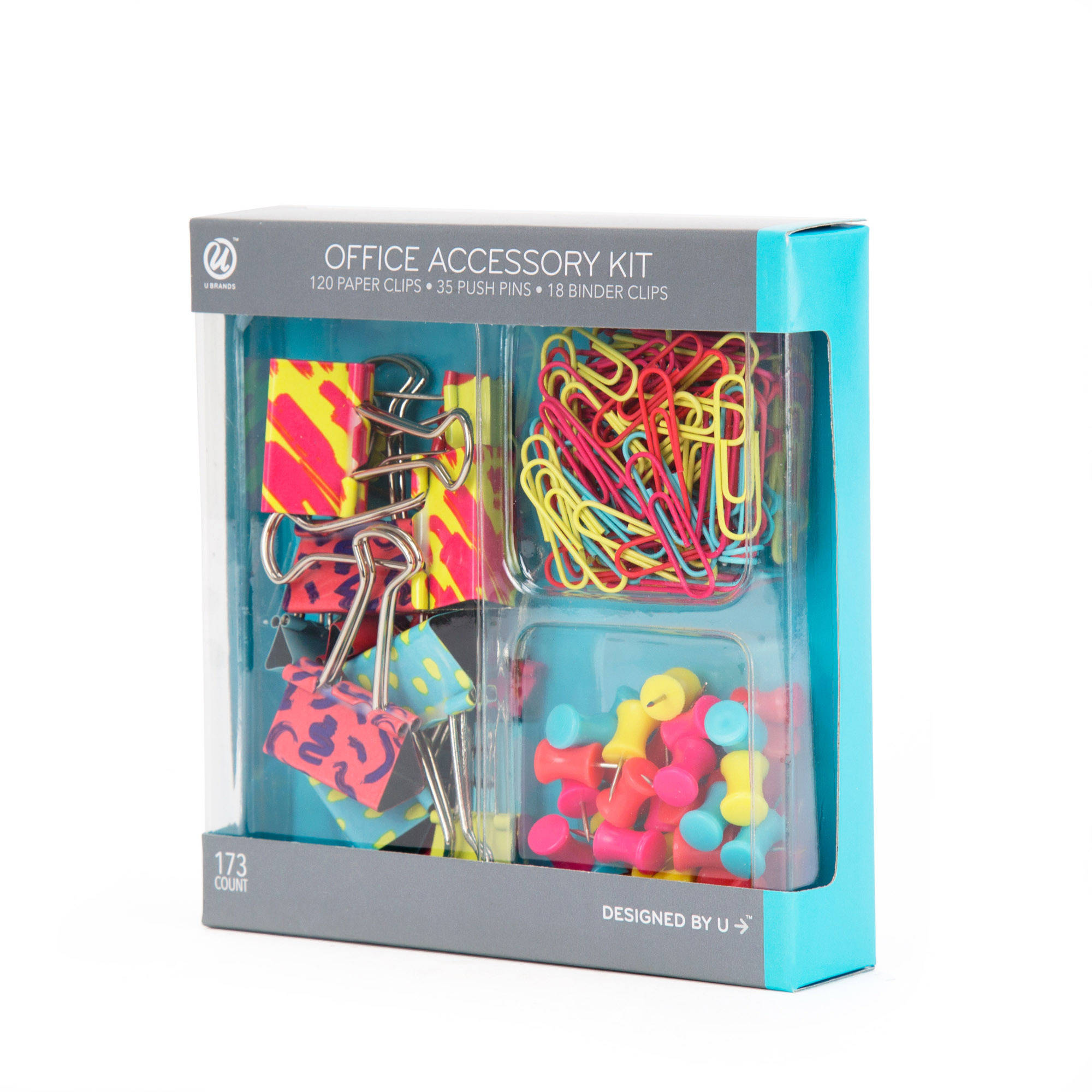 U Brands Binder Clips Paper Clips and Push Pins Value Pack, Pop Spring Fashion Colors, 173-Count