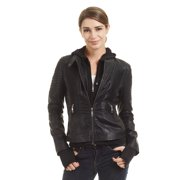 WJC1432 Womens Hoodied Faux Leather Biker Jacket S Grey