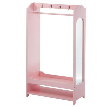 Teamson Kids Little Princess Wooden Dress-Up Armoire, 4 Hangers, Pink