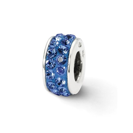 Solid 925 Sterling Silver Reflections Blue Double Row CZ Cubic Zirconia Swarovski Crystal Bead (4.6mm x 10.9mm)