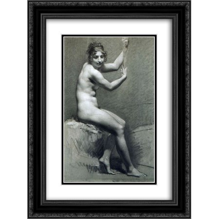 Pierre Paul Prud'hon 2x Matted 20x24 Black Ornate Framed Art Print 'Drawing of Female Nude with charcoal and chalk' Drawing Nude Female Art