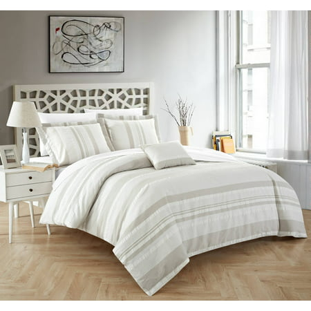 - Chic Home Devon 4 Piece Duvet Cover Set 100% Cotton Seersucker Striped Design Zipper Closure Bedding with Decorative Pillows Shams Included, King Beige