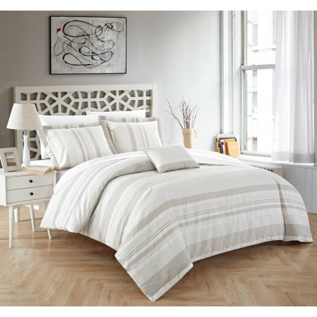 King Size Stripes Duvet Cover - Chic Home Devon 4 Piece Duvet Cover Set 100% Cotton Seersucker Striped Design Zipper Closure Bedding with Decorative Pillows Shams Included, King Beige
